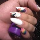 #rainbow #acrylics #glitter