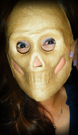 """""""Beauty is Skin Deep"""" lol Mask I found at Michael's for my son to play with."""