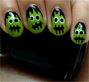 Nail tutorial & more photos here: http://www.swatchandlearn.com/nail-art-tutorial-frankensteins-monster-nails/