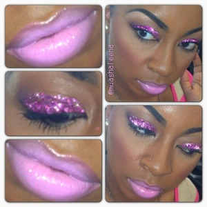 I used pink glitter from a craft store. (Please be careful when using glitter on or around your eyes). On my lips I mixed MAC Nicki Minaj Viva Glam 2 with MAC Saint Germain. I applied Saint Germain Lipglass over it.  Follow me on Instagram for daily makeup and beauty photos! www.instagram.com/muashaleena