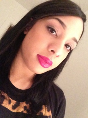 Haven't wore hot pink lips in a while.