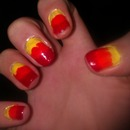 Popsicle nails (red/orange/yellow)