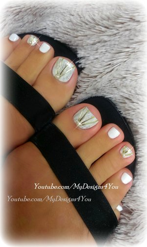 DIY Wedding Toenail Art Design.