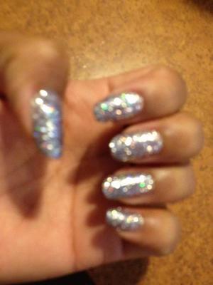 Glitter nails using lose glitter and uv gel