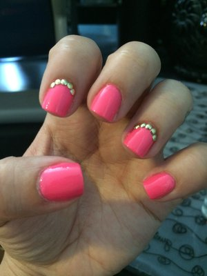 Products used: -forever21 neon pink polish -sephora get what you want polish -gold circle studs from eBay -tweezers