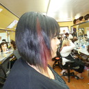 Inverted bob with red accent