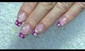 Pink Christmas Nail Art Design - snowflakes - winter nails