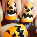 Pumpkin Face ~ Halloween Nail Art