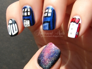 The DW logo, the Tardis doors, Eleventh Doctor's bowtie and suspenders, and what Doctor Who mani is complete without a galaxy nail?