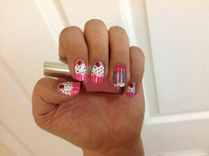 These were my birthday nails last year. They were inspired by a video, but I cannot remember who it was by. =/
