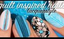 Aqua Blue Quilt Inspired Floral Nails | Lacquerstyle