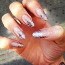 Lilac Glitter Gradient Nails