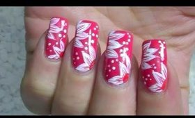 Nail Art Design - white flowers and dots - nailart Tutorial