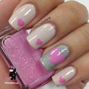 Light pink, hearts & silver sparkles