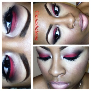 I used red tomato pigment from Magnolia Makeup with inglot black pigment in corner crease with a nude lippie :)