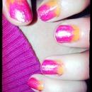 pink dip dye/tie dye nails