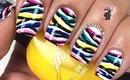 Neon Zebra Nails by The Crafty Ninja