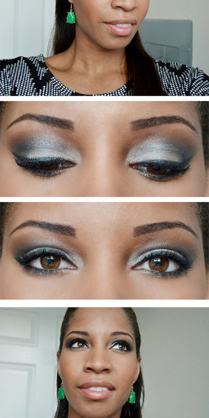 This smokey eye makeup look was done with L'OREAL's Hip Makeup Eyeshadow in Platinum and Saucy.