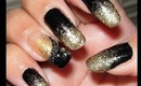 Easy Black and Gold Glitter Nails for New Years Eve!!!
