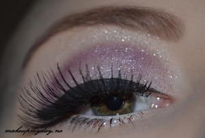 Eyes  False Eyelashes: Ardell: 113 Mascara: Isadora Precision Liquid eyeliner: Clinique: Black Eyeliner: Sephora: White Eyeshadow: Isadora: Purple vain and Northen Lights. Glitter: LA Splash: Paparazzi