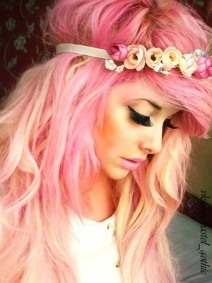 pastel goth hair, pastel pink to get this look you need to mix a little bit of hair dye with a cup of conditioner.. leave it on for an hour and wash it off... (you need blondr hair to get that look) hopefully it helped!