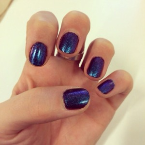 Blue/purple nails with gel top coat