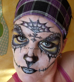 Fancy Purple and Yellow Sugar Skull 1 Ms VersZsatile