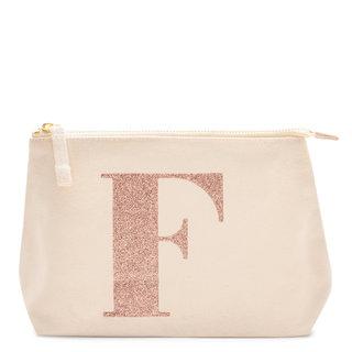 Rose Gold Glitter Initial Makeup Bag Letter F