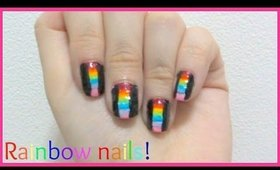 How I do rainbow color block nail art design! Explained for beginners!