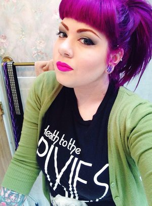"""Lipstick is Melt Cosmetics """"Stupid Love"""".  Hair color is Special Effects """"Pimpin' Purple""""."""