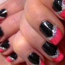♥ Pink & Black Nail Art ♥