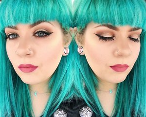 """Eyeshadow is Too Faced Chocolate Bon Bons palette and Colour Pop eyeshadow in """"Lovely"""" on the center of the lid.  Eyeliner is Colour Pop gel liner in """"Swerve"""".  Hair color is Arctic Fox """"Aquamarine""""."""