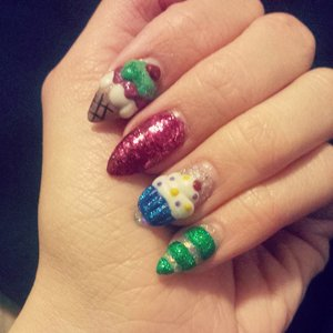 stiletto nails with 3d acrylic designs :)