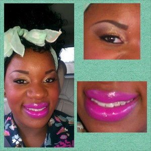 golden bronze eye dark liner individual lashes and a pretty pink lip !