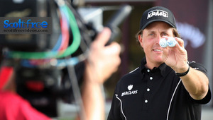 Phil Mickelson on set filming a super bowl commercial.