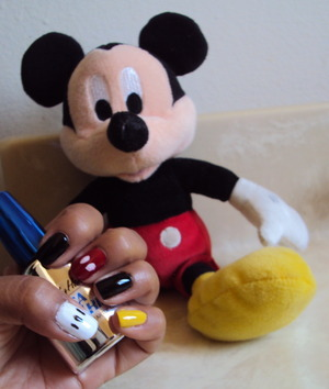 Mickey Mouse inspired nails for when my son went to Disneyland with grandma. White- CQ in French White Black- China Glaze Liquid Leather Red- Essie in Forever Yummy Yellow- Sally Hansen Insta-Dri in Lightening