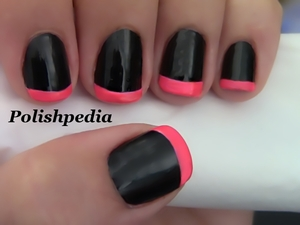 This design came about because of my need for something hot and flashy!  I love it.  Watch the video tutorial @ http://www.polishpedia.com/neon-pink-french-tip-nails.html