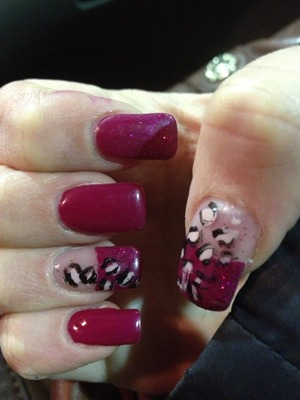 Leopard nails And French Opi Color