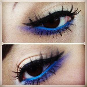 intense blue liner.