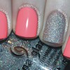 Neon Pink Nails with a Glitter Accent Nail