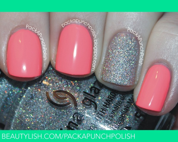 Neon Pink Nails With A Glitter Accent Nail Samantha S S