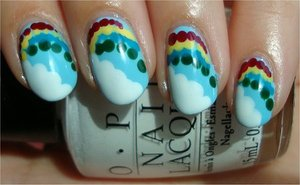 Rainbow & Cloud Nails Nail tutorial & more photos here: http://www.swatchandlearn.com/nail-art-tutorial-rainbow-cloud-nails/