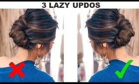 ★3 UPDOS for LAZY but CLASSY GIRLS! 🌲 (Quick HOLIDAY Hairstyles How-to tutorial)