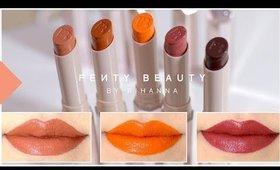 Fenty Beauty Mattemoiselle Lipstick Swatches on Lips ♡ 5 shades