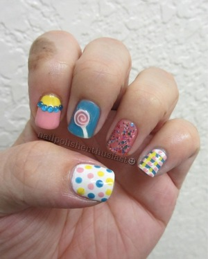 Deborah Lippmann Candy Shop, On The Beach, Avon French Tip White, Cotton Candy, Misa Happy Happy, Fimo Slice from Sally Beauty, and Rhinestones from Born Pretty Store