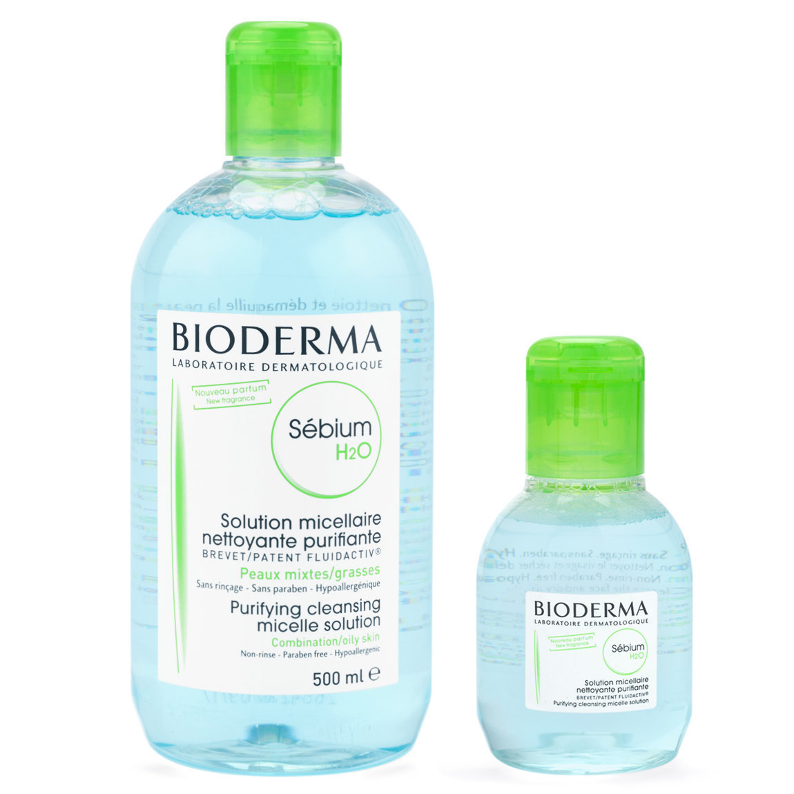 Bioderma Sébium H2O 500 ml (+100 ml Travel Size) product smear.