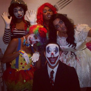 all makeup was done by yours truly. two clowns, a mime, a pop art comic cartoon, and a creepy doll (me). this was so much fun to do.