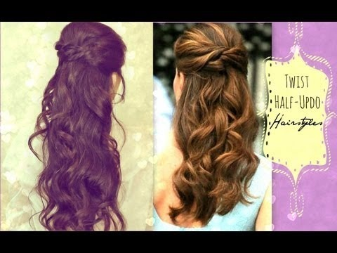 Easy Twist Crossed Hairstyles Half Up Ponytail Updo With