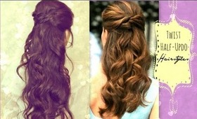 Most popular updos videos beautylish easy twist crossed hairstyles half up ponytail updo with curls for medium pmusecretfo Image collections