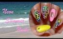 Neon Summer Leopard Nails
